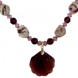 Handcrafted Classic Costume Jewellery Accessories, Fashion Young Women Girls Small Gift, Purple Shell Shaped Bead Necklace