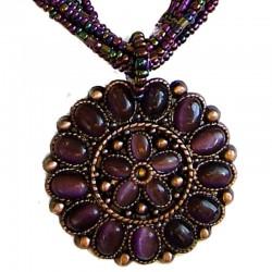 Round Costume Jewellery Accessories, Fashion Women Girls Small Gift, Purple Cats Eye Circle Disc Multi-Strand Bead Necklace