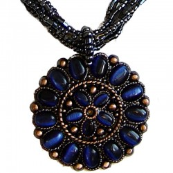 Round Costume Jewellery Accessories, Fashion Women Girls Small Gift, Navy Cats Eye Circle Disc Dark Grey Bead Necklace