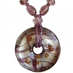 Venetian Glass Beaded Costume Jewellery Accessories, Fashion Women Girls Gift, Purple Murano Glass Round Donut Bead Necklace