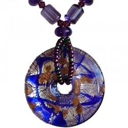 Venetian Glass Beaded Costume Jewellery Accessories, Fashion Women Girls Gift, Dark Purple Murano Glass Round Donut Bead Necklac