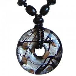 Venetian Glass Beaded Costume Jewellery Accessories, Fashion Women Girls Gift, Black Murano Glass Round Donut Bead Necklace