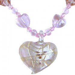 Venetian Glass Beaded Costume Jewellery Accessories, Fashion Women Girls Gift, Pink Murano Glass Heart Bead Necklace