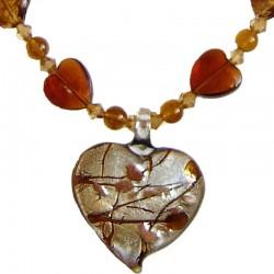 Venetian Glass Beaded Costume Jewellery Accessories, Fashion Women Girls Gift, Brown Murano Glass Heart Bead Necklace