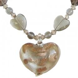 Venetian Glass Beaded Costume Jewellery Accessories, Fashion Women Girls Gift, Grey Murano Glass Heart Bead Necklace