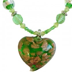 Murano Glass Beaded Costume Jewellery Accessories, Fashion Women Girls Gift, Green Venetian Glass Heart Bead Necklace