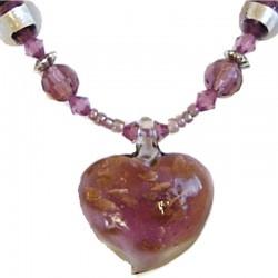 Murano Glass Beaded Costume Jewellery Accessories, Fashion Women Girls Gift, Lilac Venetian Glass Heart Bead Necklace