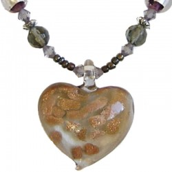Murano Glass Beaded Costume Jewellery Accessories, Fashion Women Girls Gift, Grey Venetian Glass Heart Bead Necklace