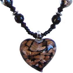 Murano Glass Beaded Costume Jewellery Accessories, Fashion Women Girls Gift, Black Venetian Glass Heart Bead Necklace