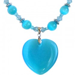 Natural Stone Costume Jewellery Accessoies, Fashion Women Girls Gift, Blue Cats Eye Stone Heart Beaded Necklace