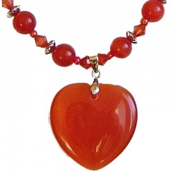 Natural Stone Costume Jewellery Accessoies, Fashion Women Girls Gift, Red Cats Eye Stone Heart Beaded Necklace