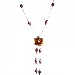 Unique Costume Jewellery Accessories, Fashion Women Girls Small Gift, Brown Bead Flower Long Drop Floating Long Necklace