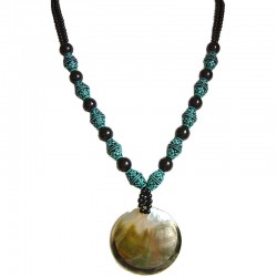 Double Large Mother-of-Pearl MOP Circle Black Pearl Blue Bead Long Necklace
