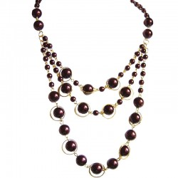 Brown Pearl Multi Strand Cascade Layer Necklace