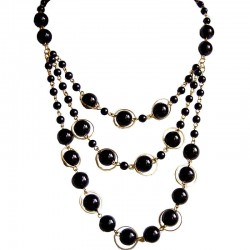 Classic Costume Jewellery, Women's Fashion Gift, Black Pearl Multi Strand Cascade Layer Necklace