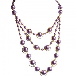 Purple Pearl Multi Strand Cascade Layer Necklace