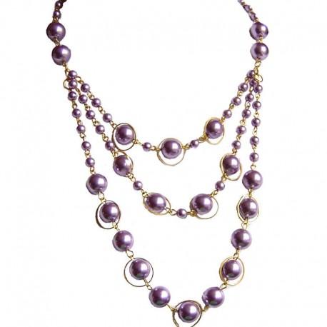 Classic Costume Jewellery, Fashion Women's Gift, Chic Purple Pearl Multi Strand Cascade Layer Necklace