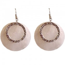 Round Circular Costume Jewellery Accessories, Fashion Young Women Girls Small Gift, Beige Circle Shell Dangle Earrings