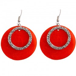 Round Circular Costume Jewellery Accessories, Fashion Young Women Girls Small Gift, Red Circle Shell Dangle Earrings