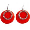 Red Circle Shell Dangle Earrings