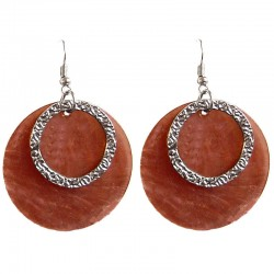 Round Circular Costume Jewellery Accessories, Fashion Young Women Girls Small Gift, Brown Circle Shell Dangle Earrings