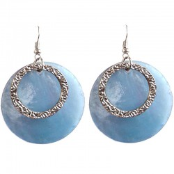 Round Circular Costume Jewellery Accessories, Fashion Young Women Girls Small Gift, Blue Circle Shell Dangle Earrings