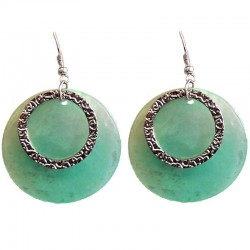 Round Circular Costume Jewellery Accessories, Fashion Young Women Girls Small Gift, Green Circle Shell Dangle Earrings