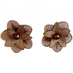 Bridal Costume Jewllery, Bridesmaid Wedding Party Dress Accessories, Brown Silk Flower Stud Earrings