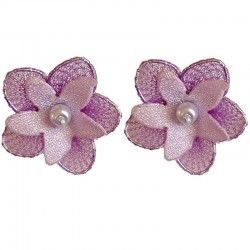 Purple & Lilac Silk Flower Stud Earrings