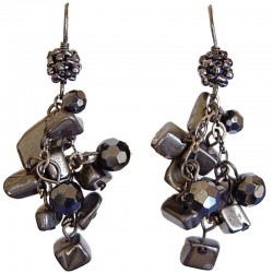 Classic Fashion Women Costume Jewellery, Haematite Tumblechip Grey Bead Cluster Drop Earrings