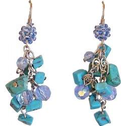 Fashion Women Simple Classic Costume Jewellery, Turquoise Tumblechip Blue Bead Cluster Drop Earrings