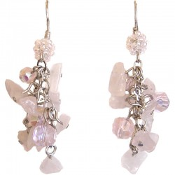 Rose Quartz Tumblechip Pink Bead Cluster Drop Earrings