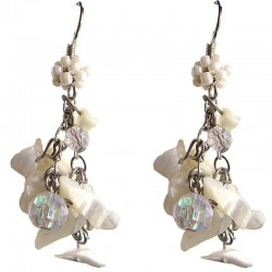 Ivory Mother of Pearl MOP Tumblechip Clear Bead Cluster Drop Earrings