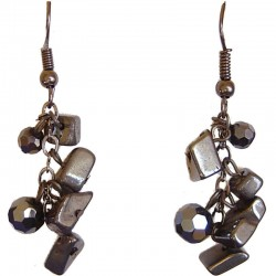 Haematite Tumblechip Grey Bead Short Drop Earrings