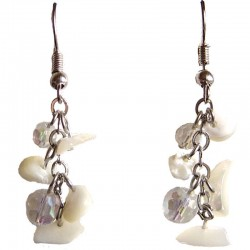 Simple Beige Costume Jewellery, MOP Tumblechip Clear Bead Short Drop Earrings