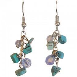 Turquoise Tumblechip Blue Bead Short Drop Earrings