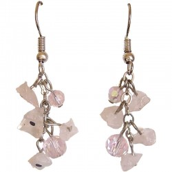 Rose Quartz Tumblechip Pink Bead Short Drop Earrings