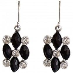 Classic Costume Jewellery Dressy Accessories, Fashion Women Dress Small Gift, Black Diamante Rhombus Dainty Drop Earrings