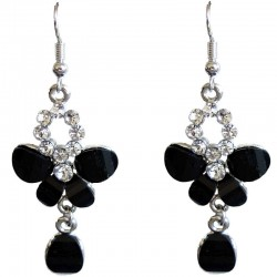 Classic Costume Jewellery Dressy Accessories, Fashion Women Dress Small Gift, Black Diamante Butterfly Drop Earrings