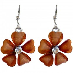 Cute Costume Jewellery Accessories, Fashion Young Women Teenage Teen Girls Gift, Brown Rhinestone Daisy Flower Drop Earrings