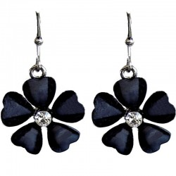 Costume Jewellery Accessories, Fashion Young Women Teenage Teen Girls Small Gift, Black Rhinestone Daisy Flower Drop Earrings
