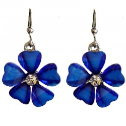 Cute Costume Jewellery Accessories, Young Women Teenage Teen Girls Small Gift, Royal Blue Rhinestone Daisy Flower Drop Earrings