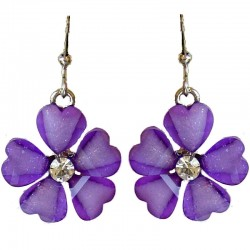 Cute Costume Jewellery Accessories, Fashion Women Teenage Teen Girls Small Gift, Purple Rhinestone Daisy Flower Drop Earrings