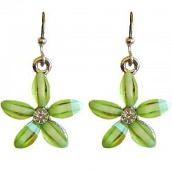 Costume Jewellery Accessories, Fashion Women Teenage Teen Girls Small Gift, Lime Green Rhinestone 22mm Flower Dangle Earrings