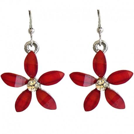 Cute Costume Jewellery Accessory, Fashion Young Women Teenage Teen Girls Small Gift, Red Rhinestone 22mm Flower Dangle Earrings