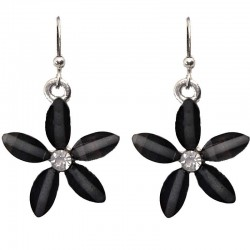 Costume Jewellery Accessories, Fashion Young Women Teen Girls Small Gift, Charcoal Black Rhinestone 22mm Flower Dangle Earrings
