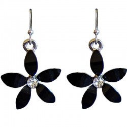 Costume Jewellery Accessories, Fashion Young Women Teenage Teen Girls Small Gift, Black Rhinestone 22mm Flower Dangle Earrings