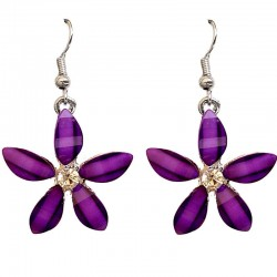 Costume Jewellery Accessories, Fashion Young Women Teenage Teen Girls Small Gift, Purple Rhinestone Lucky Flower Drop Earrings