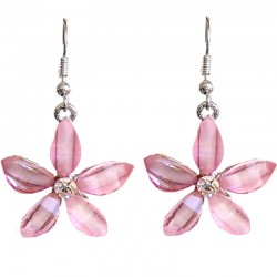 Costume Jewellery Accessories, Fashion Young Women Teenage Teen Girls Small Gift, Pink Rhinestone Lucky Flower Drop Earrings