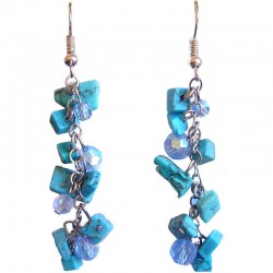 Fashion Women Simple Classic Costume Jewellery, Turquoise Tumblechip Blue Bead Dangling Earrings